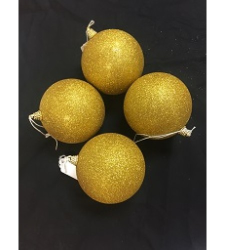 100 MM GOLD GLITTER BAUBLES PACK OF 4