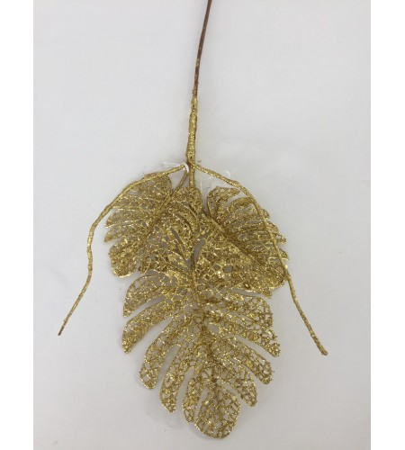 GLITTER GOLD LEAVES PICK